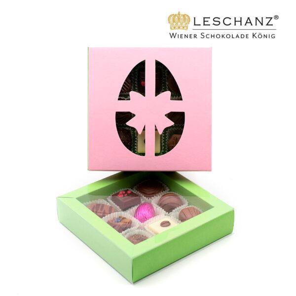 Osterkonfekt in rosa Schachtel